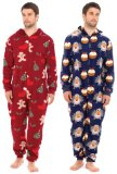 blue & red mens christmas onesie